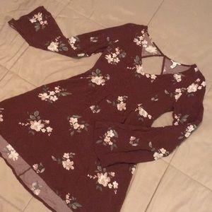 Floral bell sleeve minidress